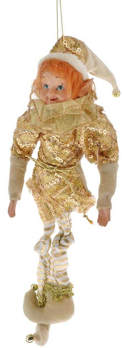 Кукла декоративная Эльф, высота 33 см75063Декоративная кукла Эльф, выполненная из полистоуна и текстиля, займет достойное место в вашей коллекции. Эльф одет в яркий костюм, украшенный пайетками. Руки и колпак куклы могут сгибаться в разные стороны. С помощью специальной петельки изделие можно подвесить в любое удобное для вас место. Оригинальная кукла Эльф подойдет для оформления новогоднего интерьера и принесет с собой атмосферу радости и веселья. Общая высота куклы: 33 см.