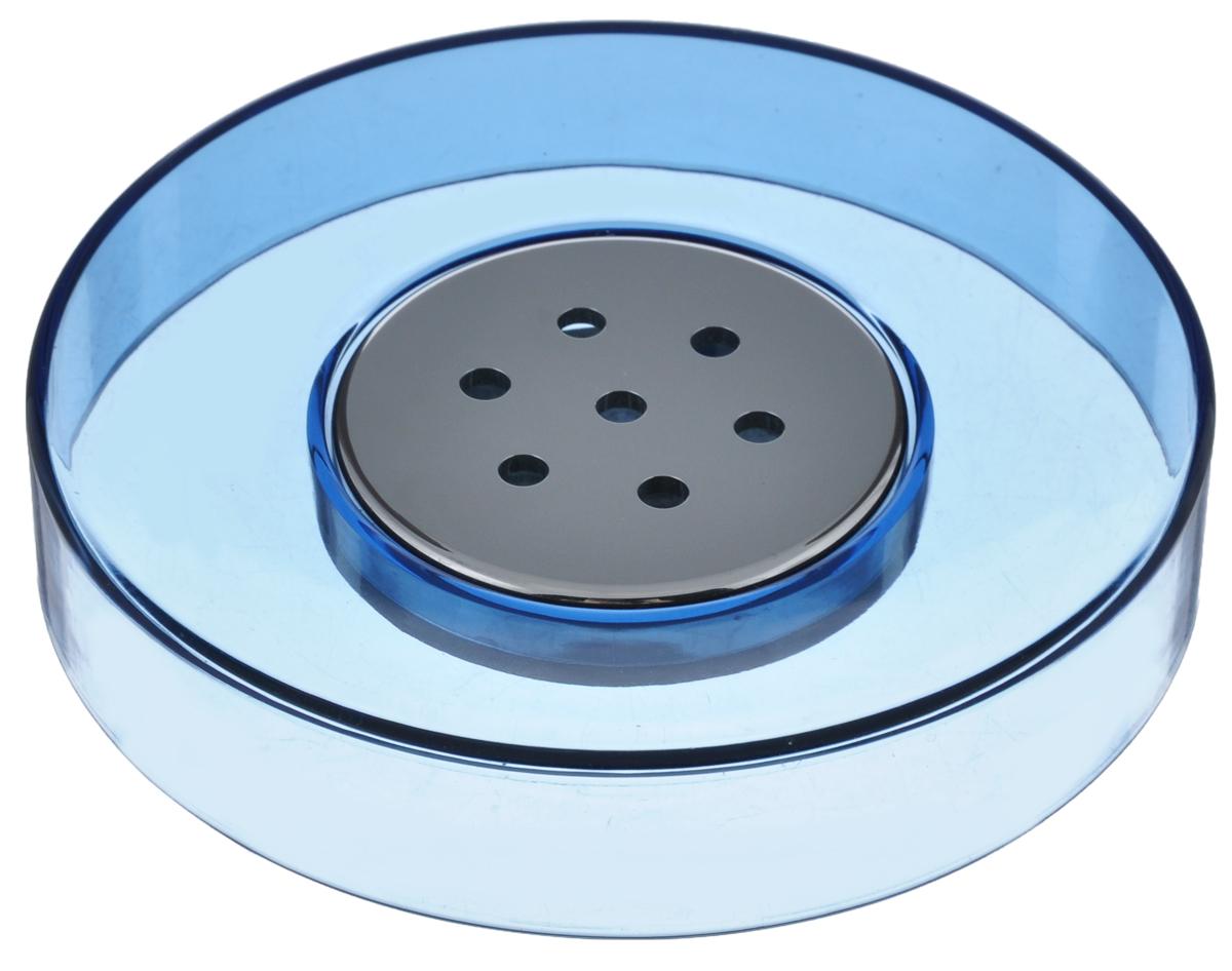 Мыльница Fresh Code Элегант, цвет: голубой, диаметр 11 см64548_голубойКруглая мыльница Fresh Code Элегант выполнена из прочного акрила. По центру предусмотрена вставка из ABS пластика с хромированной поверхностью с отверстиями для стекания воды. Мыльница отличается легкостью и компактностью, при этом она устойчива. Такая мыльница станет достойным дополнением интерьера ванной комнаты. Диаметр: 11 см. Высота: 2,1 см.