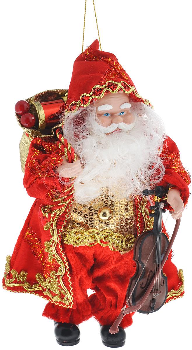 Кукла декоративная Санта Клаус, высота 20 см. 7478074780Декоративная кукла Санта Клаус выполнена из пластика и текстиля в виде Санты Клауса. Кукла одета в роскошную шубку, украшенную пайетками. В руках - скрипка. Ее добрый и загадочный вид притягивают к себе восторженные взгляды. Оригинальная кукла Санта Клаус подойдет для оформления новогоднего интерьера и принесет с собой атмосферу радости и веселья.