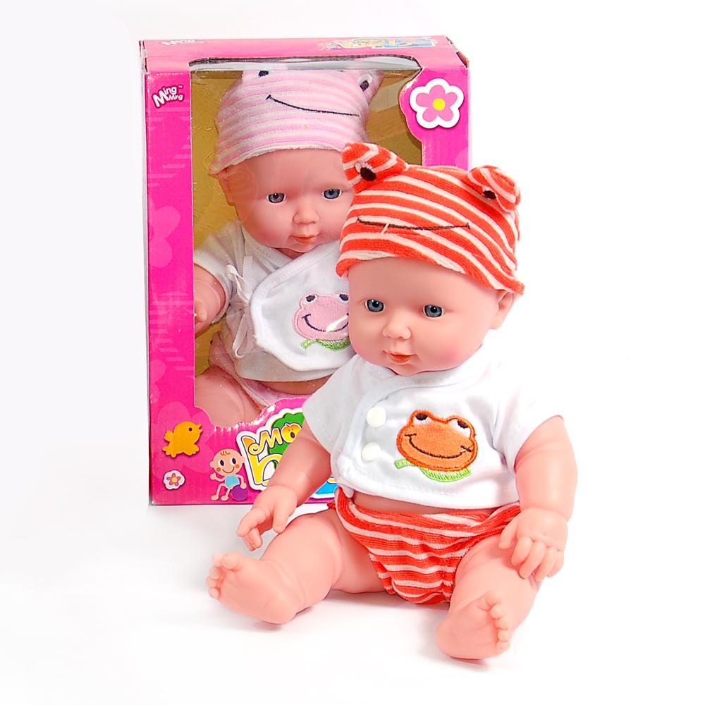 Кукла W04522 Пупс в одежде, в коробкеW04522Девочкам нравится подражать мамам, поэтому они любят играть в «дочки-матери» с симпатичными пупсами. Большой выбор таких кукол порадует всех покупателей. Например, представленный пупс от торговой марки «Ming Ming». Размер коробки: 18*24*14,5 см, высота игрушки: 30 см, вес: 497 г.