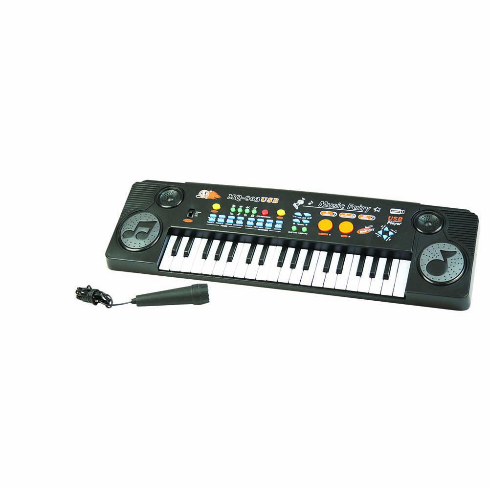 Пианино MQ-803USB с микрофоном и MP3MQ-803USBМузыкальные таланты нужно развивать с самых первых лет. Поэтому и первые музыкальные инструменты у крохотных гениев могут появляться очень рано. Такое пианино, работающее с помощью четырех батареек вида АА 1,5V, обрадует любого малыша! В комплекте микрофон, есть USB и MP3.