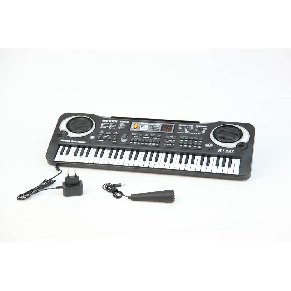 Пианино MQ6101 с микрофономMQ6101Музыкальные таланты нужно развивать с самых первых лет. Поэтому и первые музыкальные инструменты у крохотных гениев могут появляться очень рано. Такое пианино, работающее с помощью четырех батареек вида АА 1,5V, обрадует любого малыша!