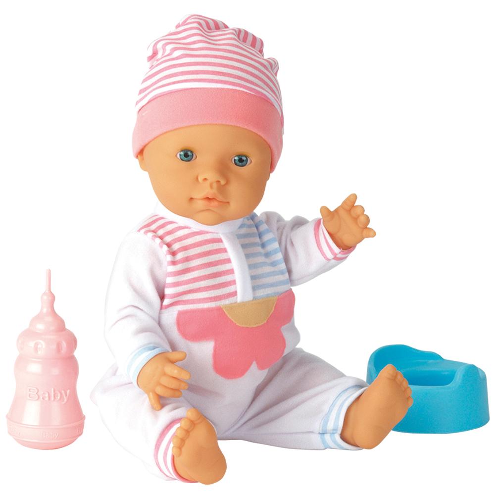 Falca Пупс41713Игрушка пупс – кукла без волосиков, одета в розовый костюмчик. В наборе с куклой есть бутылочка для кормления. Пупс умеет пить водичку и писать. В наборе с пупсом есть горшок, на который можно сажать пупса, чтобы он пописал. Высота пупса 40 см.