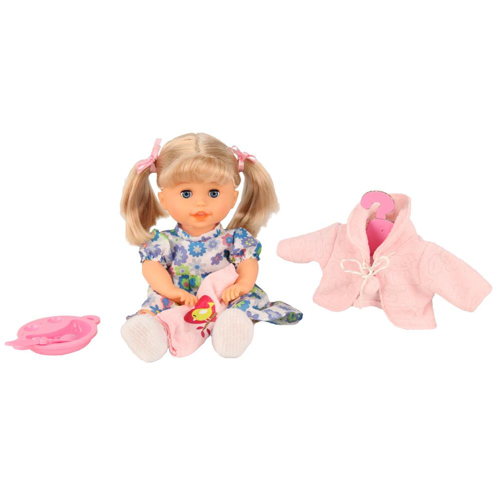 Кукла интерактивная GT8095 Моя Радость, 6 функций, 30 фраз, на батарейках68070Симпатичная интерактивная кукла из серии Моя радость – обладает шестью функциями. Куколка может произносить 30 фраз. Интерактивная куколка может разговаривать, а также петь песенку. Кукла интерактивная научит ребенка цветам и цифрам на английском языке. Интерактивная модель расскажет стих, а также считалочку. Работает от 3-х батареек АА, в наборе есть демонстрационные. Интерактивная кукла может ходить. Кукла начинает разговаривать, когда вы хлопнете в ладоши.