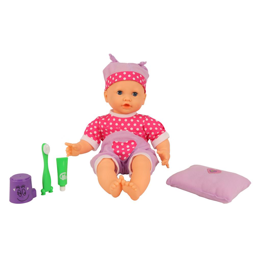 Кукла интерактивная GT8096 Моя Радость, 7 функций, 30 фраз, на батарейках68087Кукла Затейники Моя радость – интересная интерактивная игрушка, которую будет рада заиметь в подарок любая маленькая девочка возраста от трёх лет. У каждой девочки теперь есть прекрасная возможность играть и ухаживать за милой куколкой, примеряя на себя роль маленькой заботливой мамы. Эта чудесная малышка разговаривает, знает 30 фраз, умеет чистить зубки и полоскать ротик, смеется и поет колыбельную, а также реагирует на прикосновения к щечкам. Кукла Моя радость, благодаря множеству функций, не позволит вашему ребенку заскучать. Она обеспечит вашей девочке увлекательный и интересный игровой процесс, а также позволит почувствовать себя в роли маленькой заботливой мамы. Игрушка сделана из качественных гипоаллергенных материалов, благодаря чему является абсолютно безопасной для здоровья ребенка. В комплект входят: кукла, зубная паста и щетка, стаканчик для воды, полотенце. Работает от батареек 3 х AA / LR6 1.5V (пальчиковые), входят в комплект.