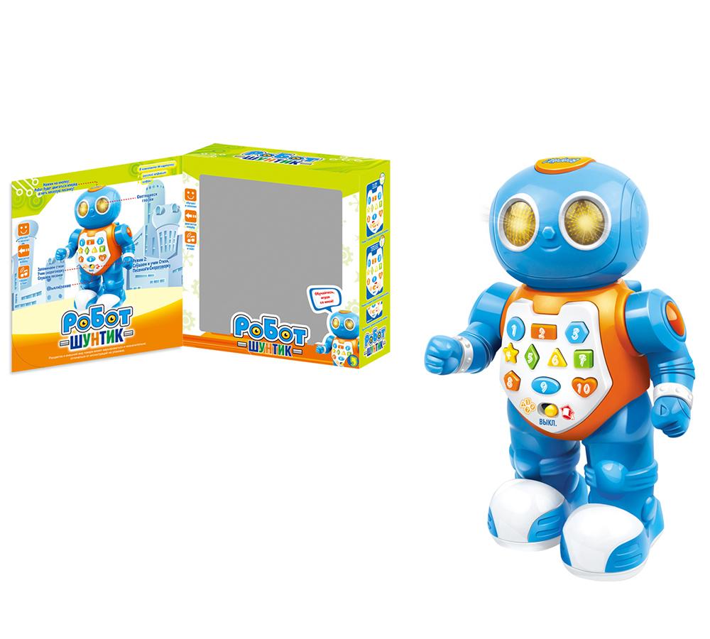 Робот ZYE-E0036 обучающий Умный Я с карточками, со светом и звуком, на батарейках, в коробкZY173468Умный робот отлично справляется с русским алфавитом и цифрами, поэтому прекрасно подойдет не только для игр, но и для подготовки к школе. Именно поэтому, многие родители приобретают эту интерактивную игрушку для детей дошкольного возраста. Также в комплекте с роботом есть 44 карточки, которые очень понравятся детям. Ведь благодаря этим карточкам малыши смогут научиться различать фигурки и цвета. Данную игрушку обожают не только дети, но и родители. Ведь эта игрушка значительно облегчает задачу мамам и папам, которые довольно часто просто не знают, как привлечь внимание ребенка. Плюс ко всему, робот знает много песенок и забавных фраз, которые обязательно помогут детям в общении со своими сверстниками. Самое главное – разобраться с управлением робота ребенок сможет самостоятельно без какой-либо посторонней помощи, так как все предельно ясно и просто.