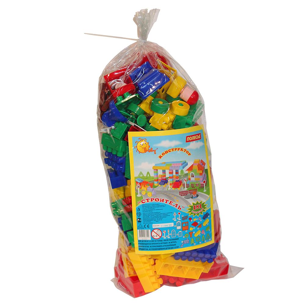 Конструктор 36124 Строитель 181 элем., в пакете36124Конструктор - необходимая игрушка в любой детской комнате, которая надолго займет внимание вашего ребенка. В комплект входят 181 пластиковых элемента, с помощью которых ребенок сможет складывать невообразимые постройки. Все детали конструктора имеют большие формы и безопасны для здоровья малыша. Детали легко и прочно соединяются между собой. Постройки можно применить для сюжетно-ролевых игр. Игра с конструктором развивает образное и пространственное мышление, стимулирует фантазию и творческое воображение, организаторские навыки и речь. Во время игры ребенок познакомится с основными цветами, научится различать фигуры, форму и цвет, сможет развить мелкую моторику рук, логику и творческое мышление.
