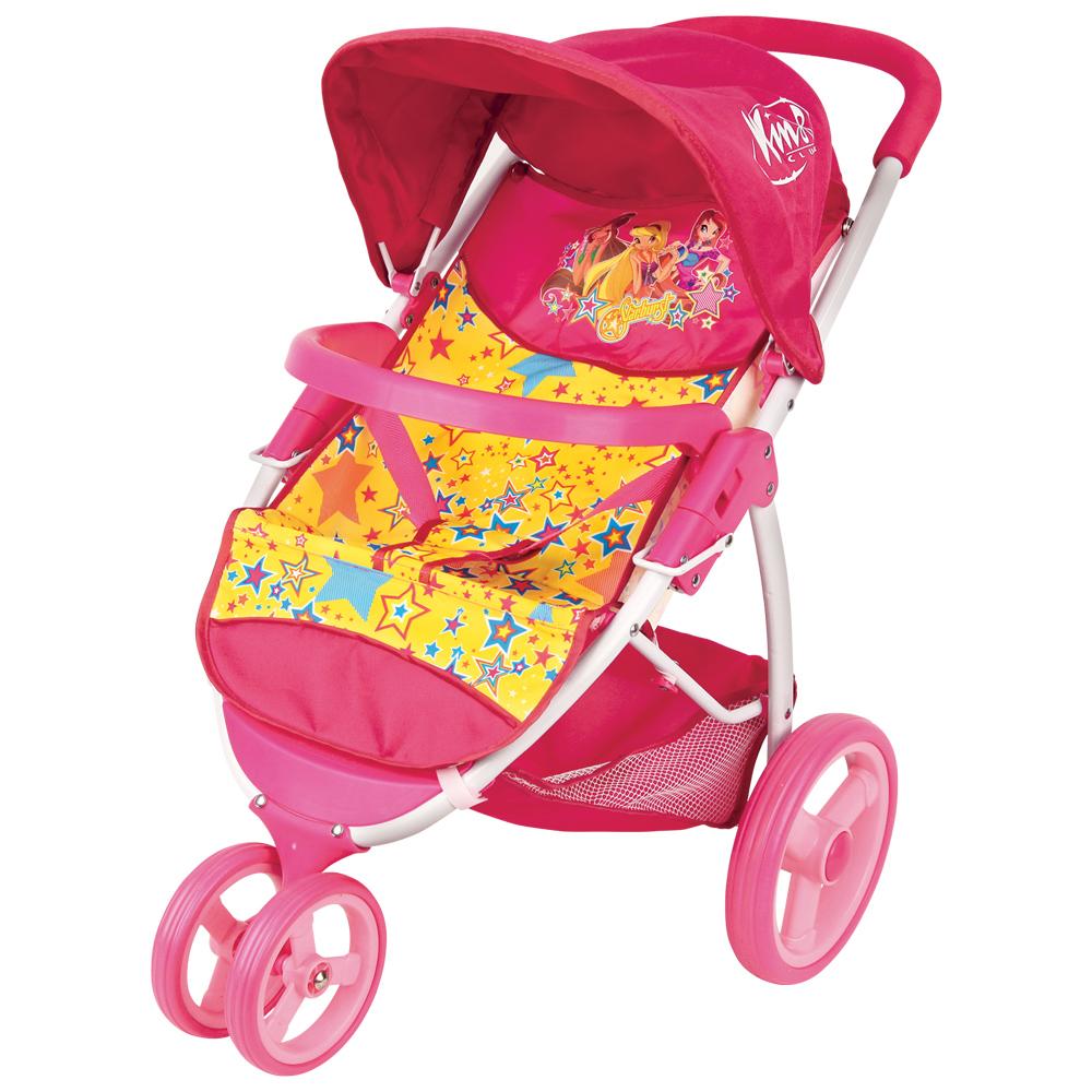 Winx Club Коляска прогулочная с корзинойGT8243Коляска для кукол популярного бренда Winx Club легкая и компактная. С ней удобно пойти на прогулку, в гости или покатать кукол по квартире. Ремни для фиксации куклы позволят не беспокоиться о том, что игрушечный малыш может случайно выпасть из коляски. Широкие колеса делают коляску маневренной и обеспечивают плавный ход при движении. Сверху у коляски складной козырек, а под сиденьем - корзина для покупок.