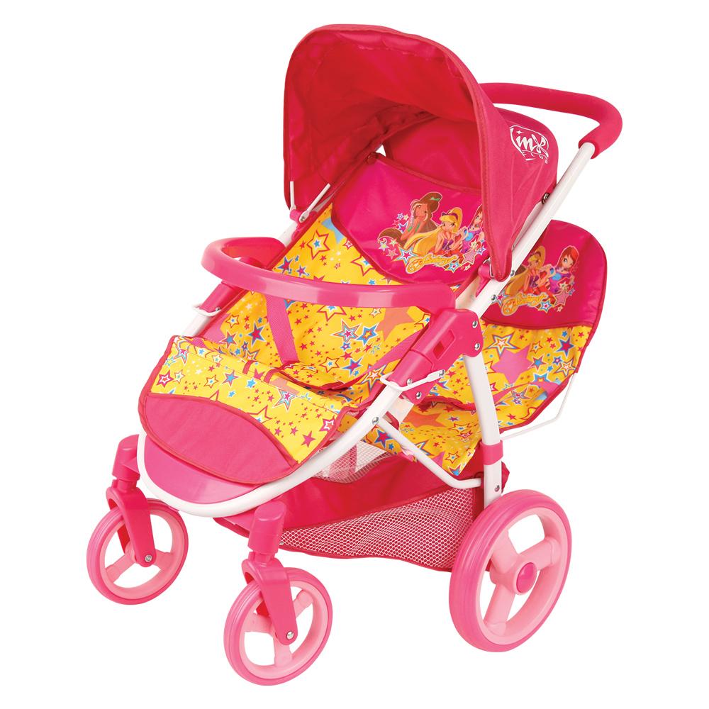 Коляска GT8244 Прогулочная для 2 кукол, в коробкеGT8244Четырехколесная коляска для двух кукол популярного бренда Winx Club легкая и компактная. С ней удобно пойти на прогулку, в гости или покатать кукол по квартире. Прочный металлический каркас и пластиковые крепления обеспечивают безопасность ребенка. Широкие колеса делают коляску маневренной и обеспечивают плавный ход при движении. Сверху у коляски складной козырек, а под сиденьем - корзина для покупок.