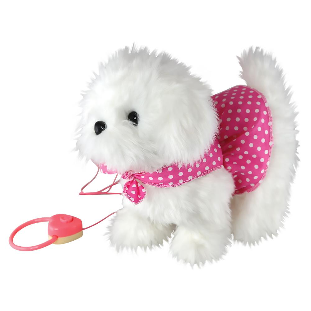 Собачка интерактивная8981Симпатичная интерактивная собачка на дистанционном управлении - самый лучший подарок для ребенка! Забавная игрушка сделана из приятного и очень мягкого материала, безвредного для малыша. Собачка умеет ходить, виляет хвостиком и лает.
