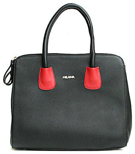 Сумка женская Milana, цвет: черный, красный. 142675-1-110142675-1-110Элегантная сумка Milana выполнена из искусственной кожи черного цвета. Изделие декорировано выставками красного цвета. На лицевой стороне сумки - один втачной карман на застежке-молнии. Изделие состоит из: одного основного отделения, которое содержит один втачной карман на застежке-молнии и два накладных кармана для телефона и разных мелочей и двух дополнительных вместительных отделений. Каждое из отделений закрывается на застежку-молнию. На дне сумки расположены металлические ножки, что помогает защитить ее от механических повреждений. Изделие оснащено удобным плечевым ремнем, который регулируются по длине. В этом сезоне этот модный аксессуар поможет вам быть в тренде!