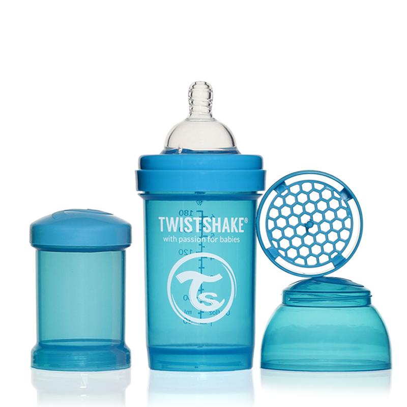 Twistshake Бутылочка для кормления 180 мл с контейнером для сухой смеси и соской 0+, голубая