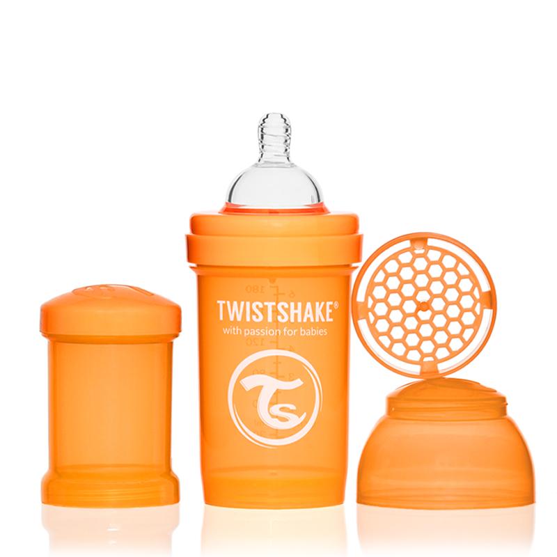 Twistshake Бутылочка для кормления 180 мл с контейнером для сухой смеси и соской 0+, оранжевая