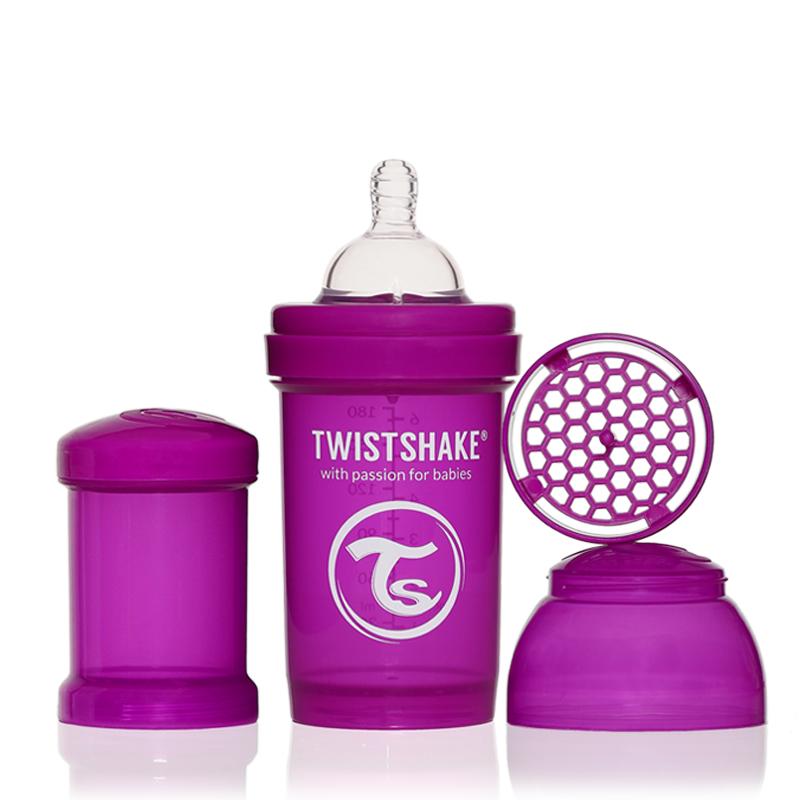 Twistshake Бутылочка для кормления 180 мл с контейнером для сухой смеси и соской 0+, лиловая