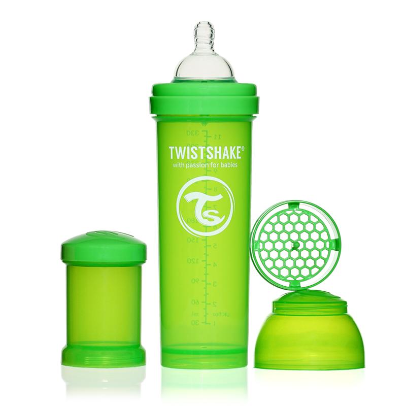 Twistshake Бутылочка для кормления 330 мл с контейнером для сухой смеси и соской 4+, зеленая