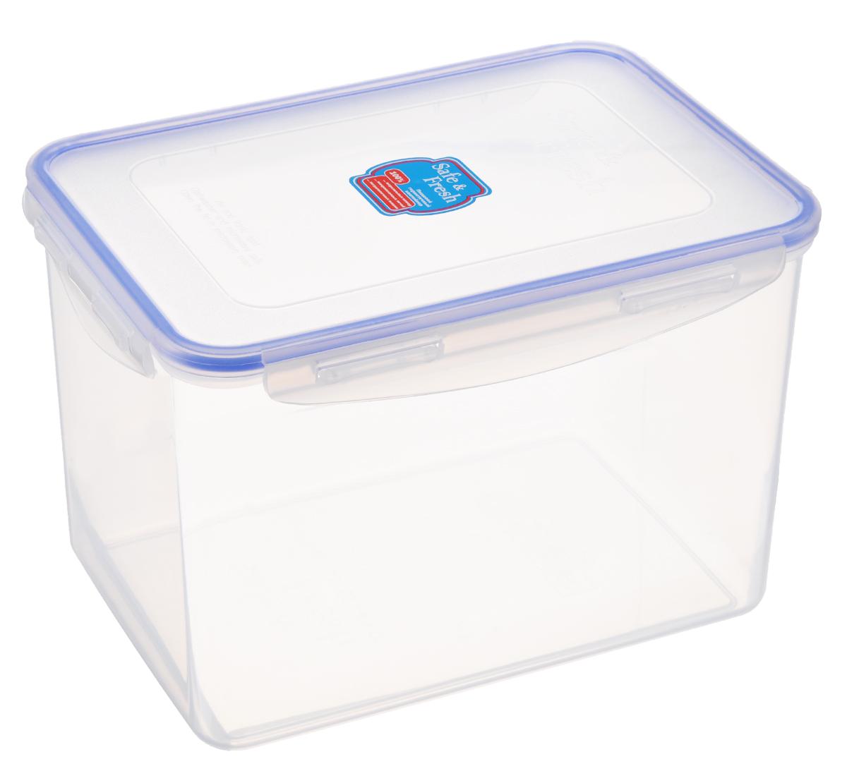 Контейнер пищевой Tek-a-Tek Safe & Fresh, цвет: прозрачный, синий, 3,9 лSF5-3Пищевой контейнер Tek-a-Tek Safe & Fresh выполнен из высококачественного пластика, устойчивого к высоким температурам. Контейнер предназначен для хранения продуктов питания, замораживания и разогревания в микроволновой печи. Изделие оснащено четырехсторонними петлями-замками и силиконовой прокладкой на внутренней стороне крышки, что позволяет сохранять герметичность. Изделие абсолютно нетоксично при любом температурном режиме. Можно использовать в посудомоечной машине до +120°С, в микроволновой печи (без крышки), в морозильной камере - 40°С.