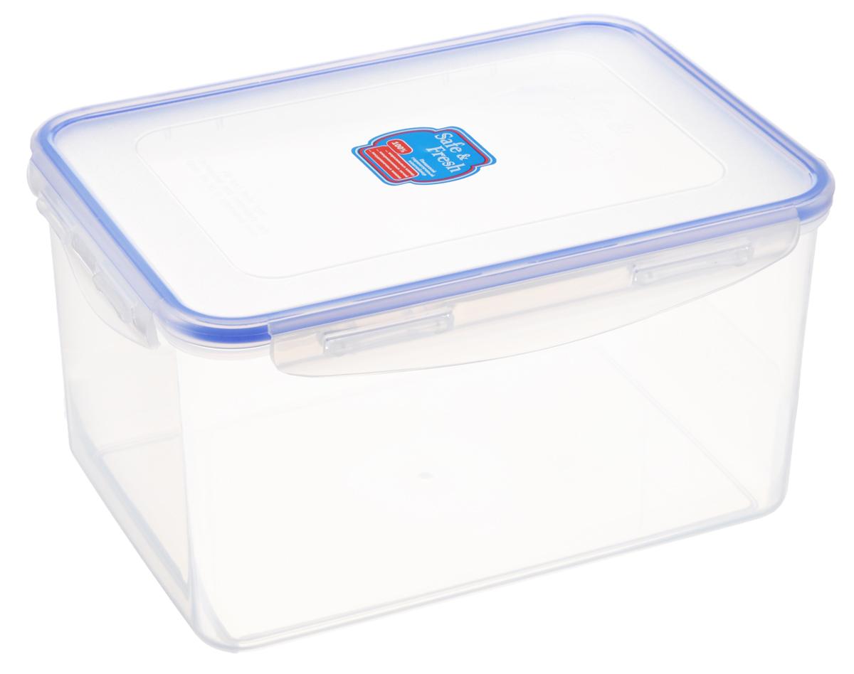 Контейнер пищевой Tek-a-Tek Safe & Fresh, цвет: прозрачный, синий, 3,1 лSF5-2Пищевой контейнер Tek-a-Tek Safe & Fresh выполнен из высококачественного пластика, устойчивого к высоким температурам. Контейнер предназначен для хранения продуктов питания, а также для замораживания и размораживания в микроволновой печи. Изделие оснащено четырехсторонними петлями-замками и силиконовой прокладкой на внутренней стороне крышки, что позволяет сохранять герметичность. Изделие абсолютно нетоксично при любом температурном режиме. Можно использовать в посудомоечной машине до +120°С, в микроволновой печи (без крышки), в морозильной камере -40° С.