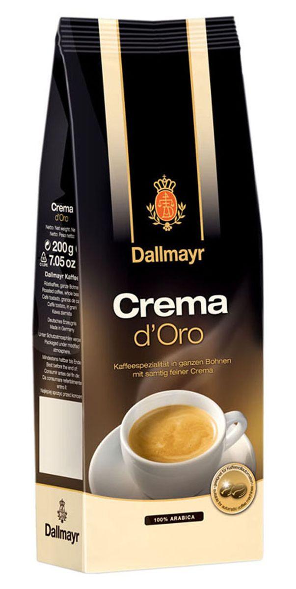 Dallmayr Crema dOro кофе в зернах, 200 г527200000Crema dOro - это тщательно подобранная композиция благородных кофейных зерен и щадящая обжарка дают нежную бархатную пенку и сбалансированный аромат. Средняя степень обжарки зерна, в составе - 100% арабика.