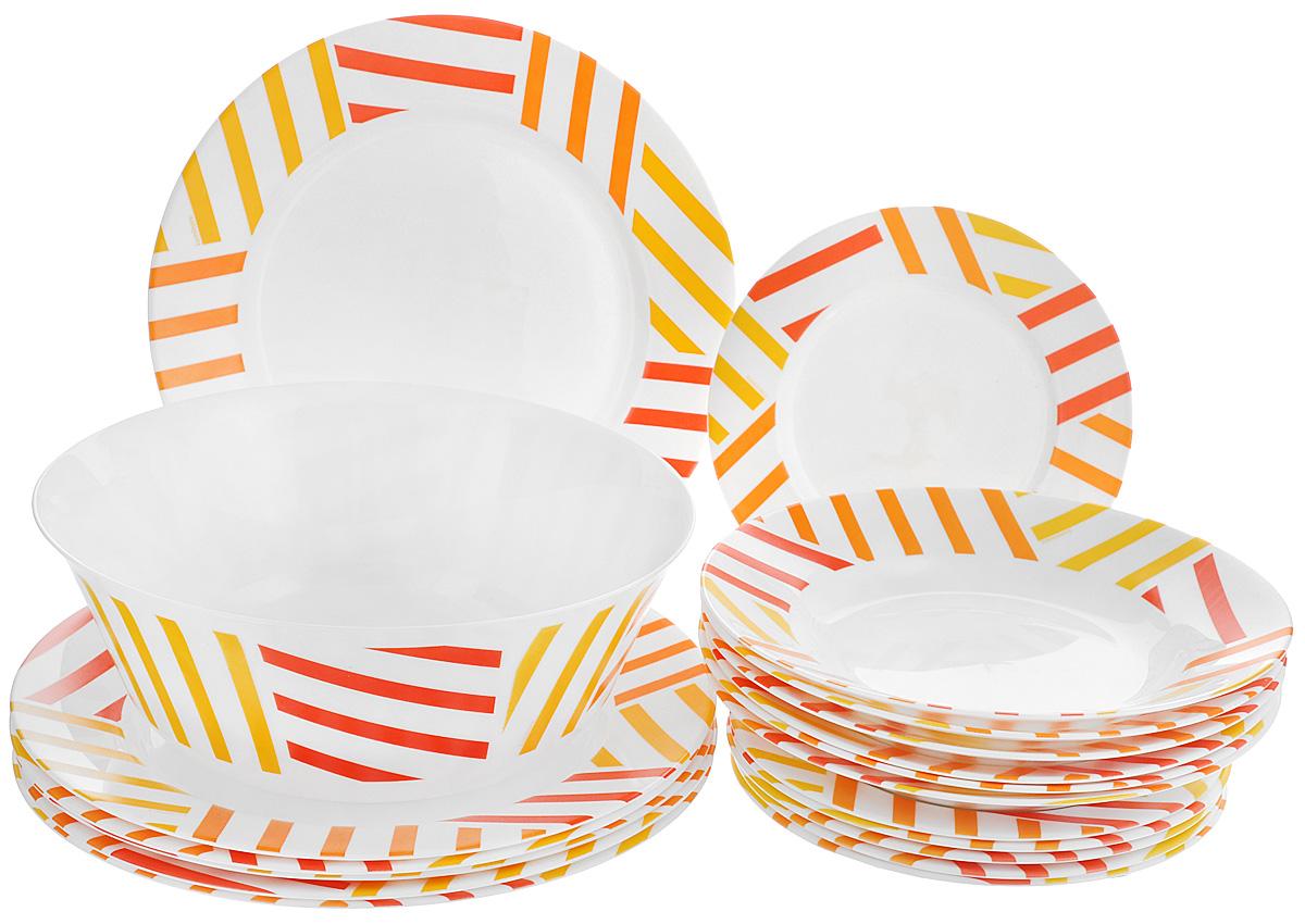 Набор столовый Luminarc Balnea Sun, 19 предметовH8549Столовый набор Luminarc Balnea Sun состоит из 6 суповых тарелок, 6 обеденных тарелок, 6 десертных тарелок и глубокого салатника. Изделия выполнены из ударопрочного стекла и декорированы яркими разноцветными полосками. Посуда отличается прочностью, гигиеничностью и долгим сроком службы. Такой набор прекрасно подойдет как для повседневного использования, так и для праздников или особенных случаев. Столовый набор Luminarc - это не только яркий и полезный подарок для родных и близких, это также великолепное дизайнерское решение для вашей кухни или столовой. Изделия можно мыть в посудомоечной машине и использовать в СВЧ-печи. Диаметр суповой тарелки: 22,5 см. Диаметр обеденной тарелки: 26,5 см. Диаметр десертной тарелки: 19,5 см. Диаметр салатника: 24 см. Высота стенки салатника: 9 см.