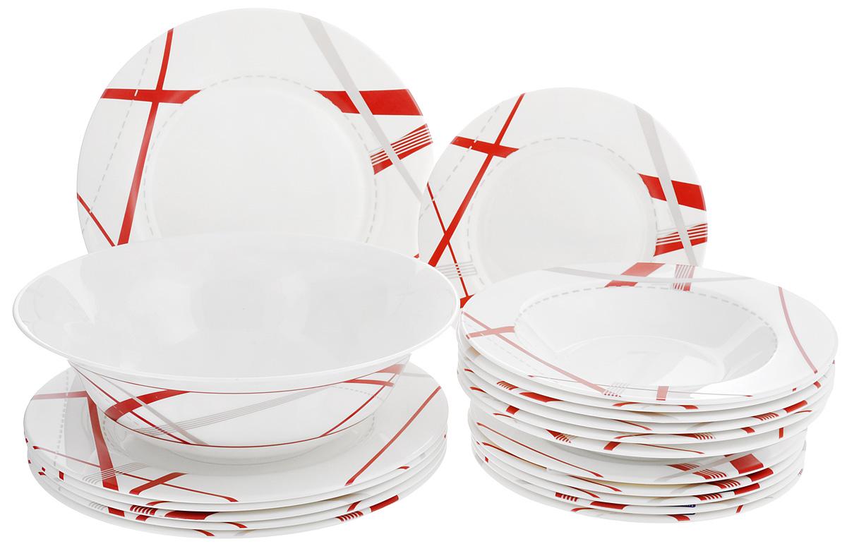 Набор столовой посуды Luminarc Couture Bone, 19 предметовH3531Набор Luminarc Couture Bone состоит из 6 суповых тарелок, 6 обеденных тарелок, 6 десертных тарелок и глубокого салатника. Изделия выполнены из ударопрочного стекла, имеют яркий дизайн и классическую круглую форму. Посуда отличается прочностью, гигиеничностью и долгим сроком службы, она устойчива к появлению царапин и резким перепадам температур. Такой набор прекрасно подойдет как для повседневного использования, так и для праздников или особенных случаев. Набор столовой посуды Luminarc Couture Bone - это не только яркий и полезный подарок для родных и близких, а также великолепное дизайнерское решение для вашей кухни или столовой. Можно мыть в посудомоечной машине и использовать в микроволновой печи. Диаметр суповой тарелки: 23 см. Высота суповой тарелки: 3,8 см. Диаметр обеденной тарелки: 27 см. Высота обеденной тарелки: 2 см. Диаметр десертной тарелки: 21 см. Высота десертной тарелки: 1,7 см. ...