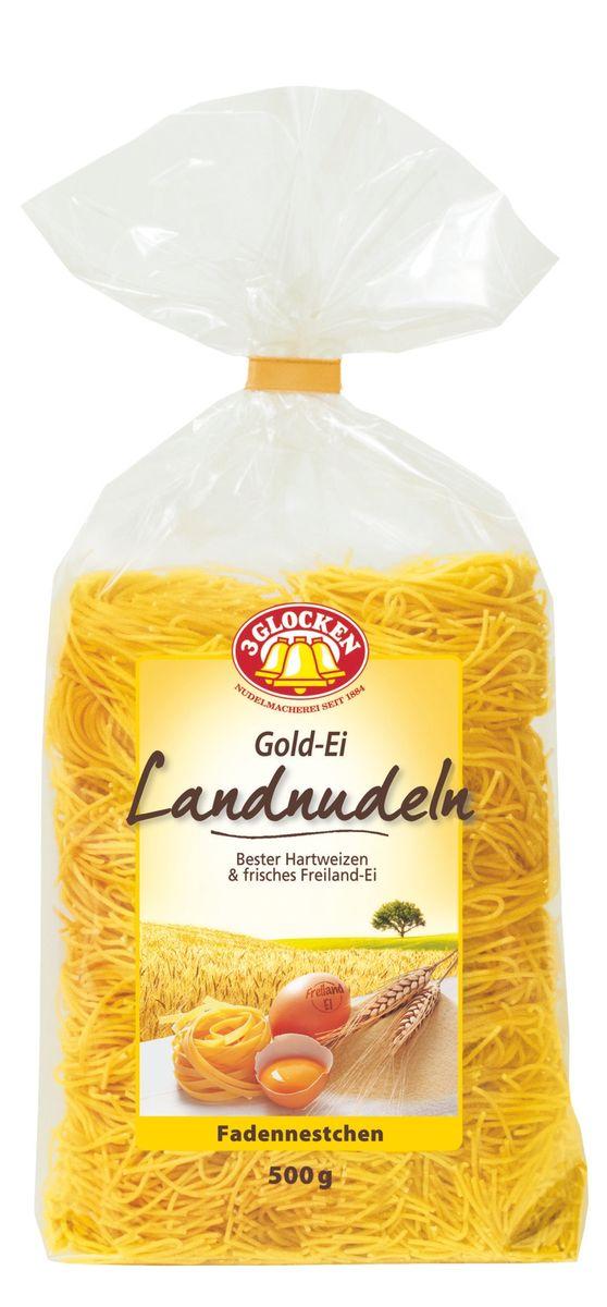 3 Glocken Fadennestchen гнезда, 500 гGE 608043Макароны 3 Glocken Fadennestchen изготовлены из муки твердых сортов, содержащей чуть меньшее количество клейковины, чем обыкновенная мука. Она хорошо поглощает воду, макароны из нее при варке увеличиваются и не развариваются. 3 Glocken Fadennestchen содержат четыре яйца на один килограмм муки. Изысканная упаковка с бантиком и домашняя рецептура делают эту серию особенно привлекательной. Условия хранения: в сухом прохладном месте при температуре до 30°C и относительной влажности воздуха не более 70%