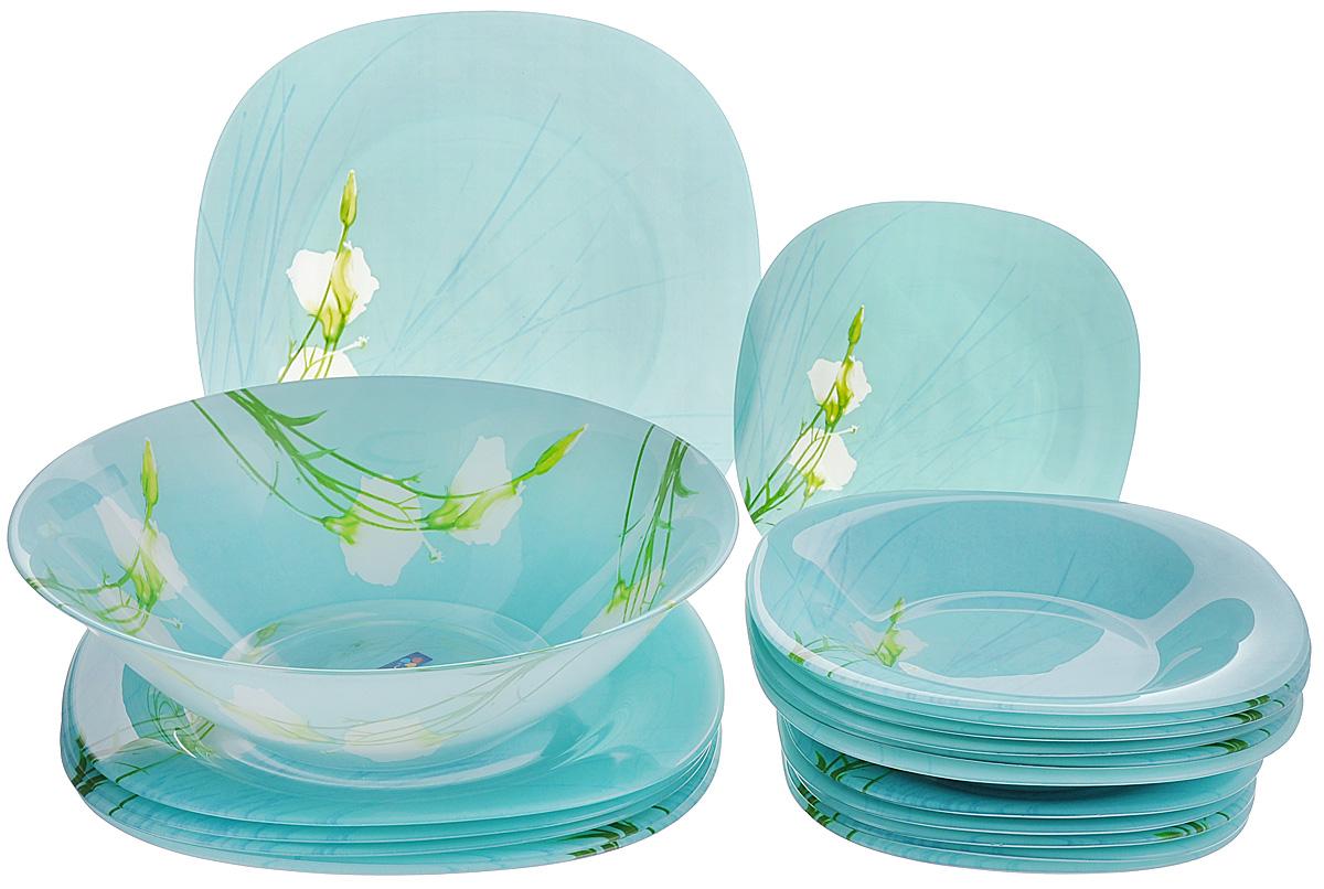 Набор столовой посуды Luminarc Sofiane Blue, 19 предметовJ7795Набор Luminarc Sofiane Blue состоит из 6 суповых тарелок, 6 обеденных тарелок, 6 десертных тарелок и глубокого салатника. Изделия выполнены из ударопрочного стекла, имеют яркий дизайн с изящным цветочным рисунком и квадратную форму. Посуда отличается прочностью, гигиеничностью и долгим сроком службы, она устойчива к появлению царапин и резким перепадам температур. Такой набор прекрасно подойдет как для повседневного использования, так и для праздников или особенных случаев. Набор столовой посуды Luminarc Sofiane Blue - это не только яркий и полезный подарок для родных и близких, а также великолепное дизайнерское решение для вашей кухни или столовой. Можно мыть в посудомоечной машине и использовать в микроволновой печи. Размер суповой тарелки: 21 см х 21 см. Высота суповой тарелки: 3,2 см. Размер обеденной тарелки: 26 см х 26 см. Высота обеденной тарелки: 2 см. Размер десертной тарелки: 18 см х 18 см. Высота...