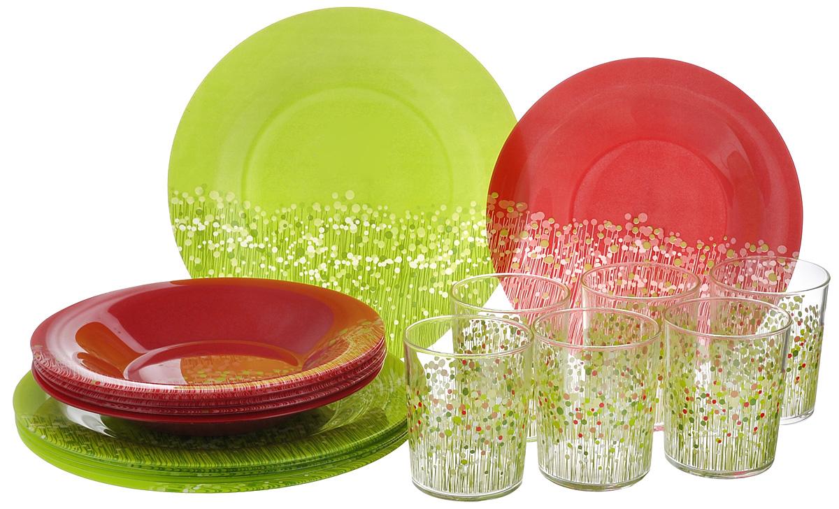 Набор столовой посуды Luminarc Flowerfield, 18 предметов. H8932H8932Набор Luminarc Flowerfield состоит из 6 суповых тарелок, 6 обеденных тарелок и 6 стаканов. Изделия выполнены из ударопрочного стекла, имеют яркий дизайн с оригинальным рисунком и классическую круглую форму. Посуда отличается прочностью, гигиеничностью и долгим сроком службы, она устойчива к появлению царапин и резким перепадам температур. Такой набор прекрасно подойдет как для повседневного использования, так и для праздников или особенных случаев. Набор столовой посуды Luminarc Flowerfield - это не только яркий и полезный подарок для родных и близких, а также великолепное дизайнерское решение для вашей кухни или столовой. Можно мыть в посудомоечной машине и использовать в микроволновой печи. Диаметр суповой тарелки: 21,5 см. Высота суповой тарелки: 3,2 см. Диаметр обеденной тарелки: 25 см. Высота обеденной тарелки: 1,5 см. Диаметр стакана (по верхнему краю): 7,3 см. Высота стакана: 9,3 см. ...