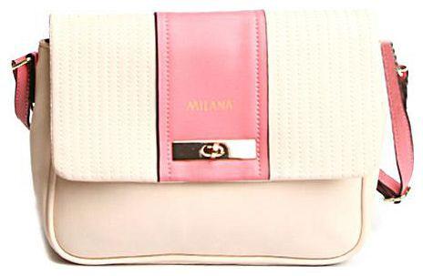 Сумка женская Milana, цвет: кремовый, розовый. 151642-1-143151642-1-143Элегантная сумка Milana выполнена из искусственной кожи. Изделие декорировано отсрочкой и вставкой другого цвета. Сумка закрывается клапаном на застежку-вертушку и дополнительно на застежку-молнию. На лицевой стороне изделия - один втачной карман на застежке-молнии. Внутри - одно большое вместительное отделение. Также внутри - один втачной карман на застежке-молнии и два небольших накладных кармана для телефона и разных мелочей. Изделие оснащено удобным плечевым ремнем, который регулируется по длине. В этом сезоне этот модный аксессуар поможет вам быть в тренде!