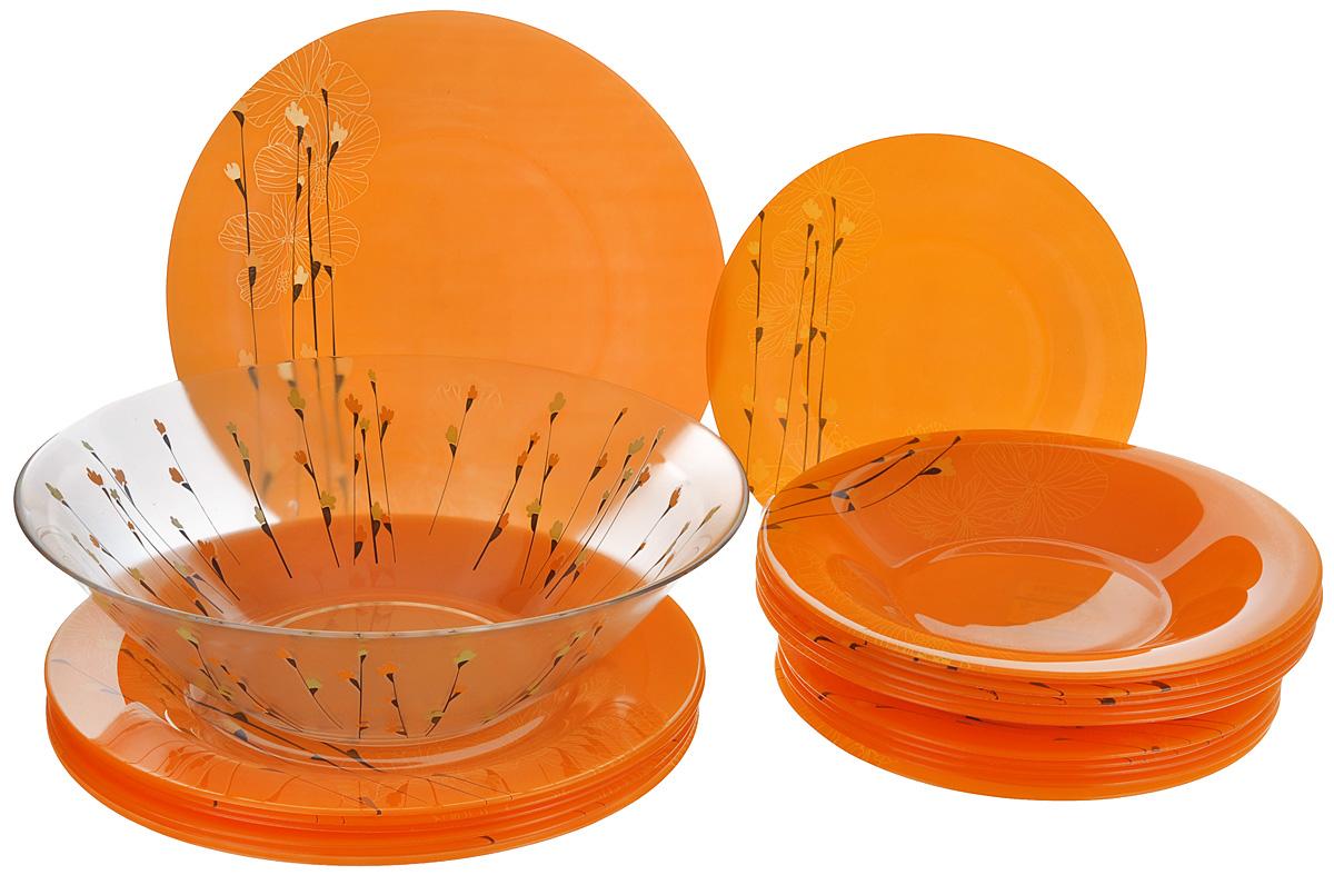 Набор столовый Luminarc Rhapsody, цвет: оранжевый, 19 предметовH8732Столовый набор Luminarc Rhapsody состоит из 6 суповых тарелок, 6 обеденных тарелок, 6 десертных тарелок и глубокого салатника. Изделия выполнены из ударопрочного стекла, имеют яркий дизайн с красивым цветочным рисунком и классическую круглую форму. Посуда отличается прочностью, гигиеничностью и долгим сроком службы, она устойчива к появлению царапин и резким перепадам температур. Такой набор прекрасно подойдет как для повседневного использования, так и для праздников или особенных случаев. Столовый набор Luminarc - это не только яркий и полезный подарок для родных и близких, это также великолепное дизайнерское решение для вашей кухни или столовой. Изделия можно мыть в посудомоечной машине и использовать в СВЧ-печи. Диаметр суповой тарелки: 21,5 см. Диаметр обеденной тарелки: 25 см. Диаметр десертной тарелки: 19,5 см. Диаметр салатника: 27 см. Высота стенки салатника: 8 см.