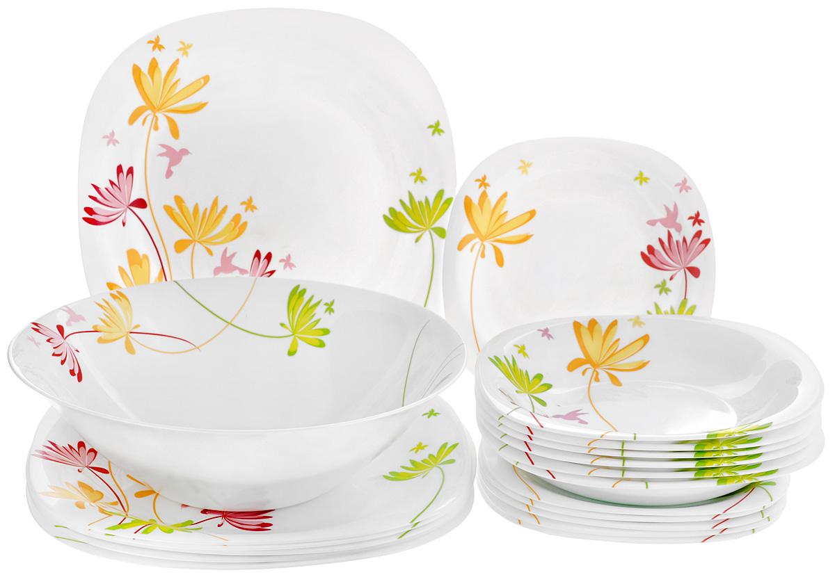 Набор столовой посуды Luminarc Crazy Flowers, 19 предметовG6525Набор Luminarc Crazy Flowers состоит из 6 суповых тарелок, 6 обеденных тарелок, 6 десертных тарелок и глубокого салатника. Изделия выполнены из ударопрочного стекла, имеют яркий дизайн с изящным цветочным рисунком и квадратную форму. Посуда отличается прочностью,гигиеничностью и долгим сроком службы, она устойчива к появлению царапин ирезким перепадам температур. Такой набор прекрасно подойдет как для повседневного использования, так и для праздников или особенных случаев. Набор столовой посуды Luminarc Crazy Flowers - это не только яркий и полезный подарок для родных и близких, а также великолепное дизайнерское решение для вашей кухни или столовой. Можно мыть в посудомоечной машине и использовать в микроволновой печи. Размер суповой тарелки: 21 см х 21 см. Высота суповой тарелки: 3,4 см. Размер обеденной тарелки: 27 см х 27 см. Высота обеденной тарелки: 2 см. Размер десертной тарелки: 19,5 см х 19,5 см. ...