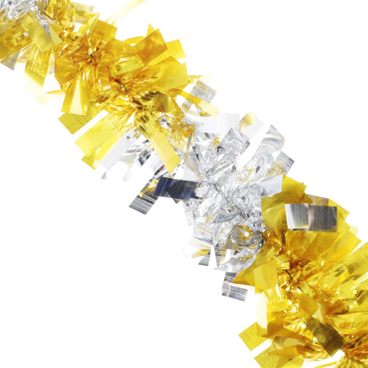 Мишура новогодняя EuroHouse Чудесница, цвет: желтый, серебристый, диаметр 6 см, длина 200 смЕХ7420_желтый, серебристыйНовогодняя мишура EuroHouse Чудесница, выполненная из ПЭТ (полиэтилентерефталата), поможет вам украсить свой дом к предстоящим праздникам. А новогодняя елка с таким украшением станет еще наряднее. Мишура армирована, то есть имеет проволоку внутри и способна сохранять придаваемую ей форму. Новогодней мишурой можно украсить все, что угодно - елку, квартиру, дачу, офис - как внутри, так и снаружи. Можно сложить новогодние поздравления, буквы и цифры, мишурой можно украсить и дополнить гирлянды, можно выделить дверные колонны, оплести дверные проемы.
