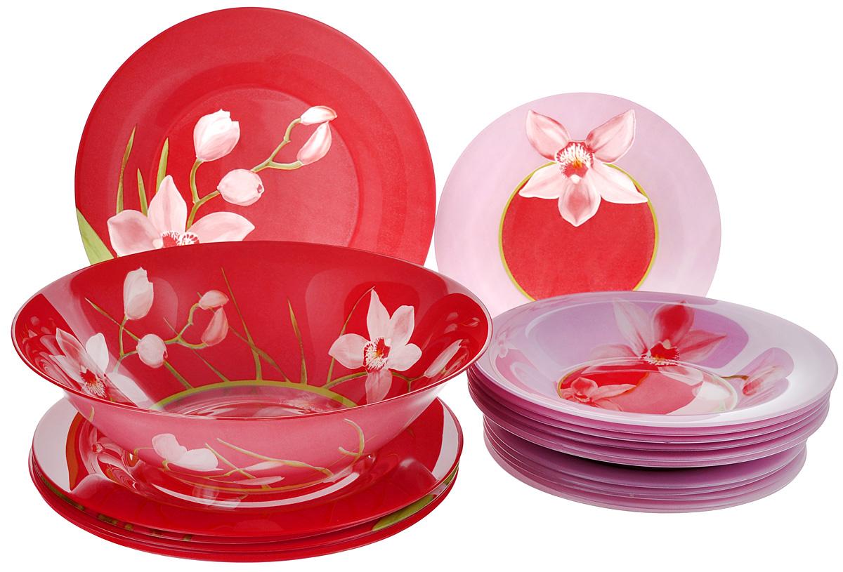 Набор столовый Luminarc Red Orchis, 19 предметовG0663Столовый набор Luminarc Red Orchis состоит из 6 суповых тарелок, 6 обеденных тарелок, 6 десертных тарелок и глубокого салатника. Изделия выполнены из ударопрочного стекла, имеют яркий дизайн с красивым цветочным рисунком и классическую круглую форму. Посуда отличается прочностью, гигиеничностью и долгим сроком службы, она устойчива к появлению царапин и резким перепадам температур. Такой набор прекрасно подойдет как для повседневного использования, так и для праздников или особенных случаев. Столовый набор Luminarc - это не только яркий и полезный подарок для родных и близких, это также великолепное дизайнерское решение для вашей кухни или столовой. Изделия можно мыть в посудомоечной машине и использовать в СВЧ-печи. Диаметр суповой тарелки: 21,5 см. Диаметр обеденной тарелки: 25 см. Диаметр десертной тарелки: 19,5 см. Диаметр салатника: 27 см. Высота стенки салатника: 8 см.