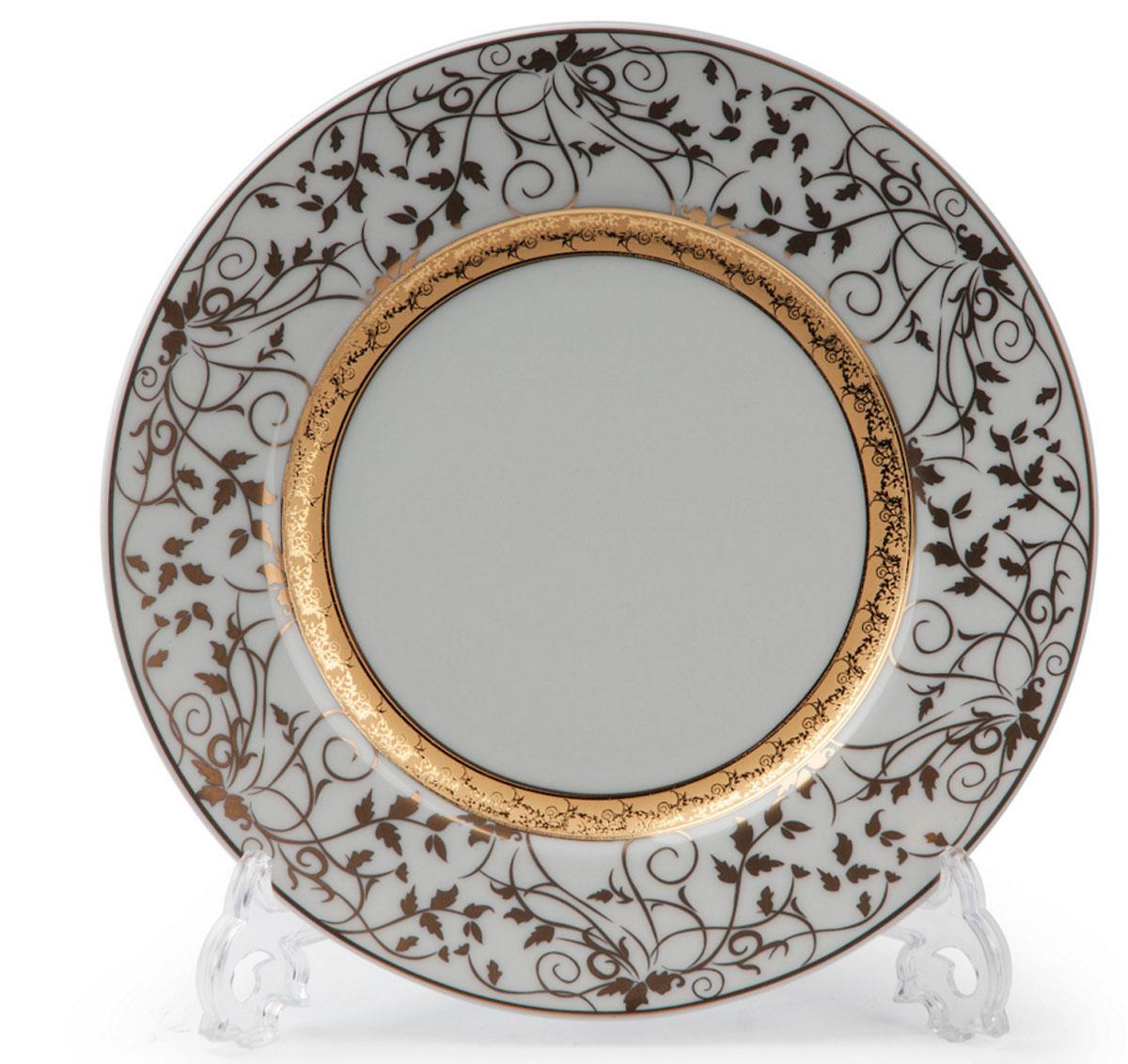 Mimosa Lierre Or 947, набор тарелок 22см (6шт), цвет: белый с золотом539 117 947В наборе тарелка 22 см 6 штук