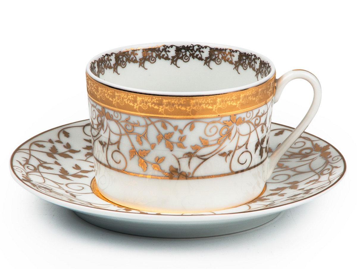 Mimosa Lierre Or 947, набор чайных пар (6шт), цвет: белый с золотом539 506 947Чайная пара 220 мл * 6 штук/ 12 предметов