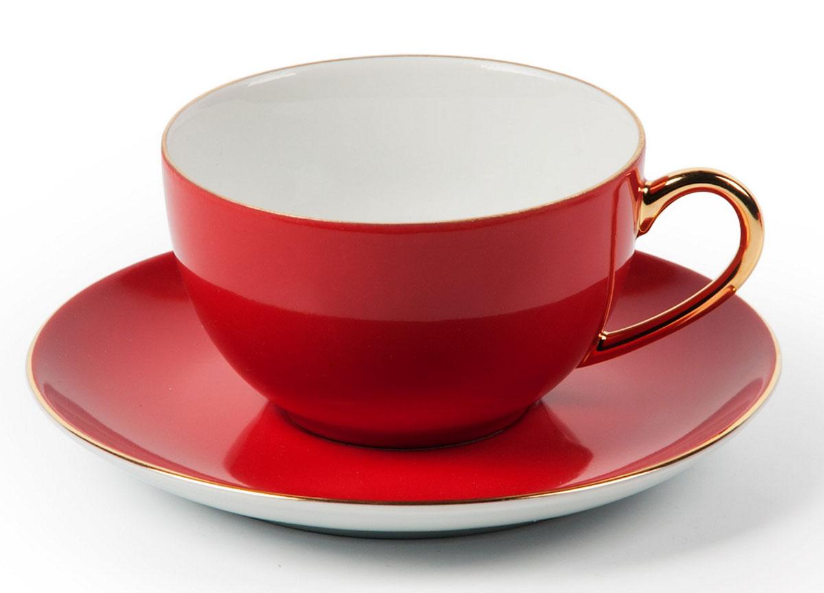 Monalisa 3125 набор чайных пар 220мл*6шт (12пр), цвет: красный с золотом6 195 013 125Чайная пара 220 мл * 6 штук/ 12 предметов
