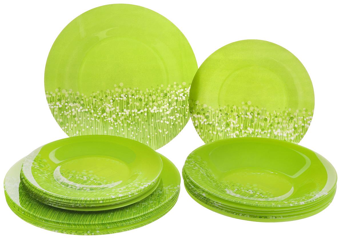 Набор столовой посуды Luminarc Flowerfield, цвет: светло-зеленый, 18 предметовH2498Набор Luminarc Flowerfield состоит из 6 суповых тарелок, 6 обеденных тарелок и 6 десертных тарелок. Изделия выполнены из ударопрочного стекла, оформлены ярким дизайном и имеют классическую круглую форму. Посуда отличается прочностью,гигиеничностью и долгим сроком службы, она устойчива к появлению царапин и резким перепадам температур. Такой набор прекрасно подойдет как для повседневного использования, так и для праздников или особенных случаев. Набор столовой посуды Luminarc Flowerfield - это не только яркий и полезный подарок для родных и близких, а также великолепное дизайнерское решение для вашей кухни или столовой. Можно мыть в посудомоечной машине и использовать в микроволновой печи. Диаметр суповой тарелки: 21 см. Высота суповой тарелки: 3,2 см. Диаметр обеденной тарелки: 25 см. Высота обеденной тарелки: 2 см. Диаметр десертной тарелки: 20 см. Высота десертной тарелки: 2,2 см.
