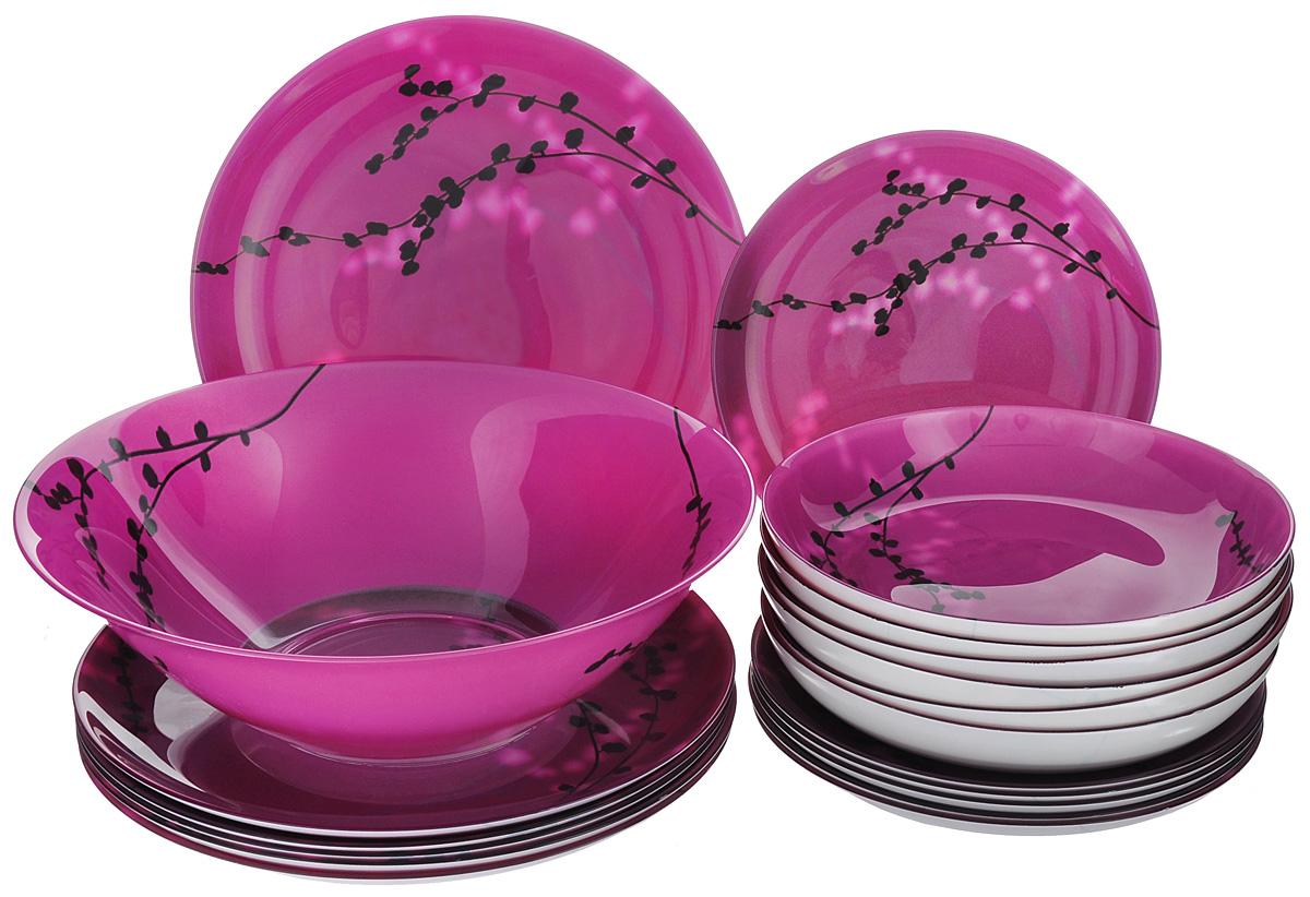 Набор столовой посуды Luminarc Kashima Fushia, 19 предметовG9715Набор Luminarc Kashima Fushia состоит из 6 суповых тарелок, 6 обеденных тарелок, 6 десертных тарелок и глубокого салатника. Изделия выполнены из ударопрочного стекла, имеют яркий дизайн с изящным цветочным рисунком в японском стиле и классическую круглую форму. Посуда отличается прочностью, гигиеничностью и долгим сроком службы, она устойчива к появлению царапин и резким перепадам температур. Такой набор прекрасно подойдет как для повседневного использования, так и для праздников или особенных случаев. Набор столовой посуды Luminarc Kashima Fushia - это не только яркий и полезный подарок для родных и близких, а также великолепное дизайнерское решение для вашей кухни или столовой. Можно мыть в посудомоечной машине и использовать в микроволновой печи. Диаметр суповой тарелки: 20,5 см. Высота суповой тарелки: 3,2 см. Диаметр обеденной тарелки: 25 см. Высота обеденной тарелки: 2 см. Диаметр десертной тарелки:...