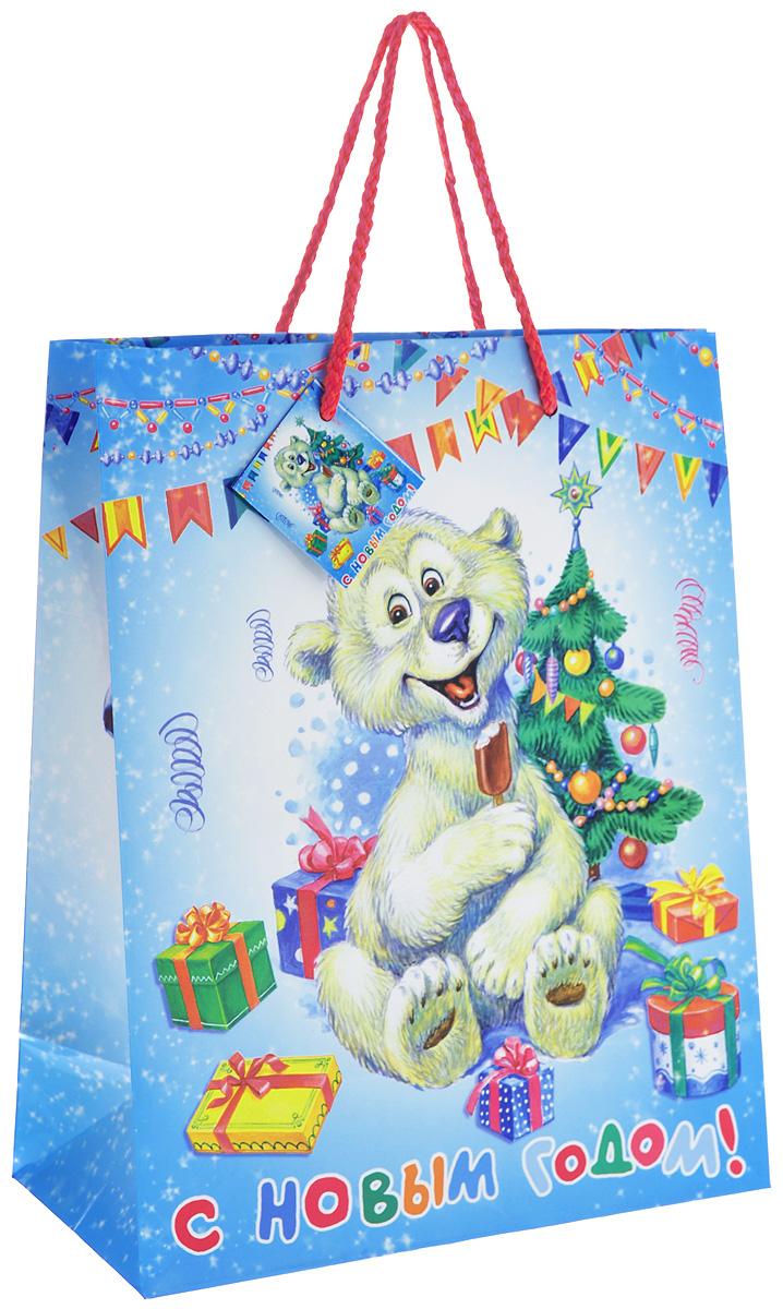 Пакет подарочный Феникс-Презент Медвежонок, 26 см х 33 см х 13 см35205Подарочный пакет Феникс-Презент Медвежонок, изготовленный из плотной бумаги, станет незаменимым дополнением к выбранному подарку. Дно изделия укреплено картоном, который позволяет сохранить форму пакета и исключает возможность деформации дна под тяжестью подарка. Для удобной переноски на пакете имеются две ручки из шнурков. Подарок, преподнесенный в оригинальной упаковке, всегда будет самым эффектным и запоминающимся. Окружите близких людей вниманием и заботой, вручив презент в нарядном, праздничном оформлении.