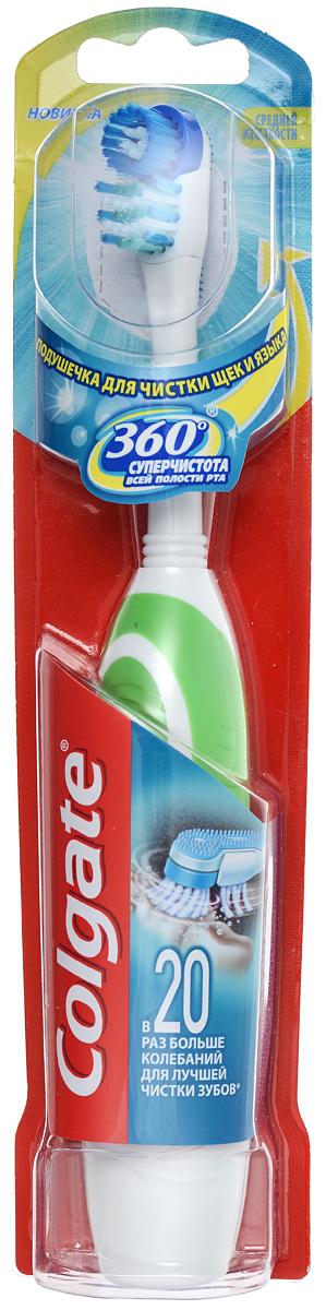 """Colgate Зубная щетка """"360. Супер чистота всей полости рта"""", электрическая, средней жесткости, цвет: зеленый FCN10035_зеленый"""