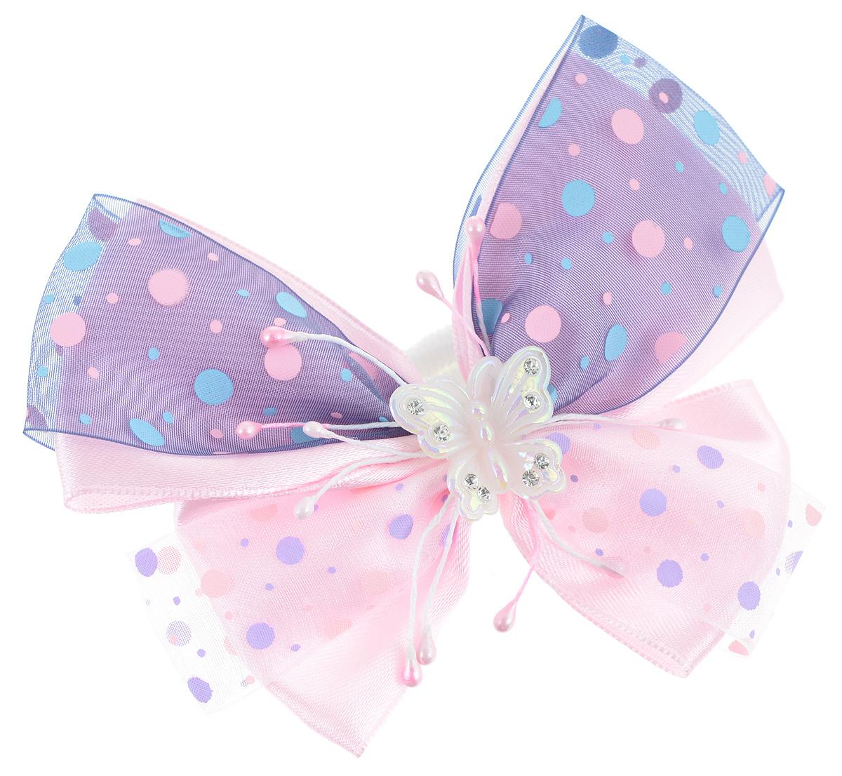 Резинка для волос Babys Joy, цвет: фиолетовый, розовый. MN 122MN 122_розовый/фиолетовыйРезинка для волос Babys Joy изготовлена из текстиля и дополнена милым бантиком, который оформлен принтом горох и бабочкой из пластика, которая дополнена стразами. Резинка для волос Babys Joy надежно зафиксирует волосы и подчеркнет красоту прически вашей маленькой принцессы.
