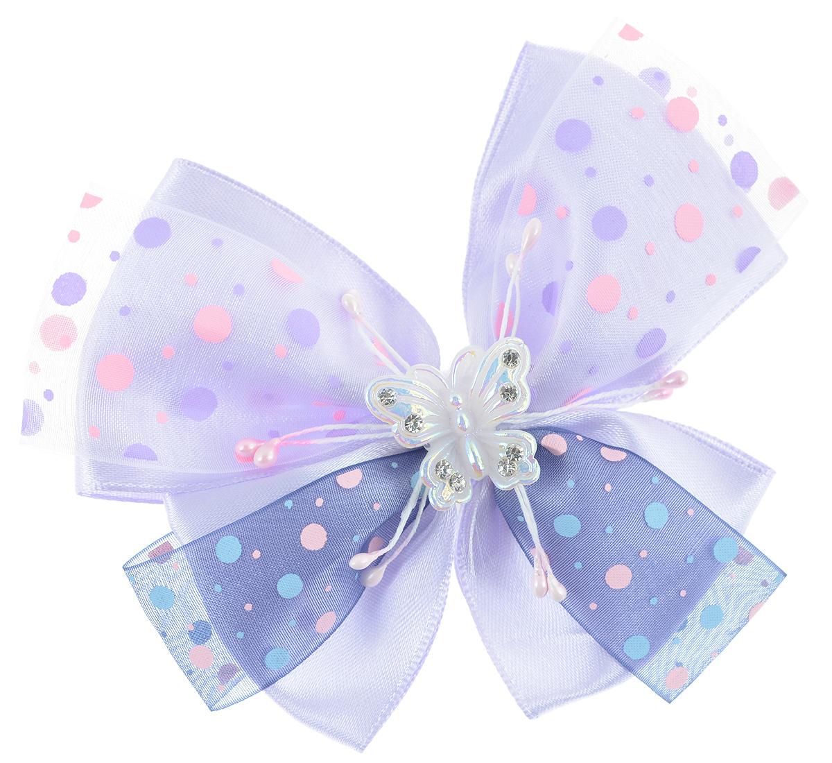 Резинка для волос Babys Joy, цвет: розовый, фиолетовый. MN 122MN 122_сереневый/фиолетовыйРезинка для волос Babys Joy изготовлена из текстиля и дополнена милым бантиком, который оформлен принтом горох и бабочкой из пластика, которая дополнена стразами. Резинка для волос Babys Joy надежно зафиксирует волосы и подчеркнет красоту прически вашей маленькой принцессы.