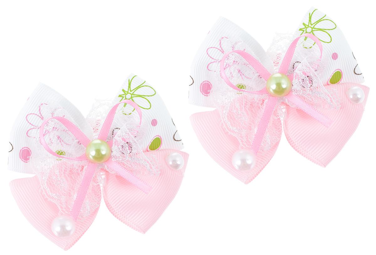 Резинка для волос Babys Joy, цвет: белый, розовый, 2 шт. MN 133MN 133_белый/нежно-розовый бантыРезинка для волос Babys Joy изготовлена из текстиля и дополнена милым бантиком, который оформлен цветочным принтом, кружевом и пластиковыми бусинками. Резинка для волос Babys Joy надежно зафиксирует волосы и подчеркнет красоту прически вашей маленькой принцессы.