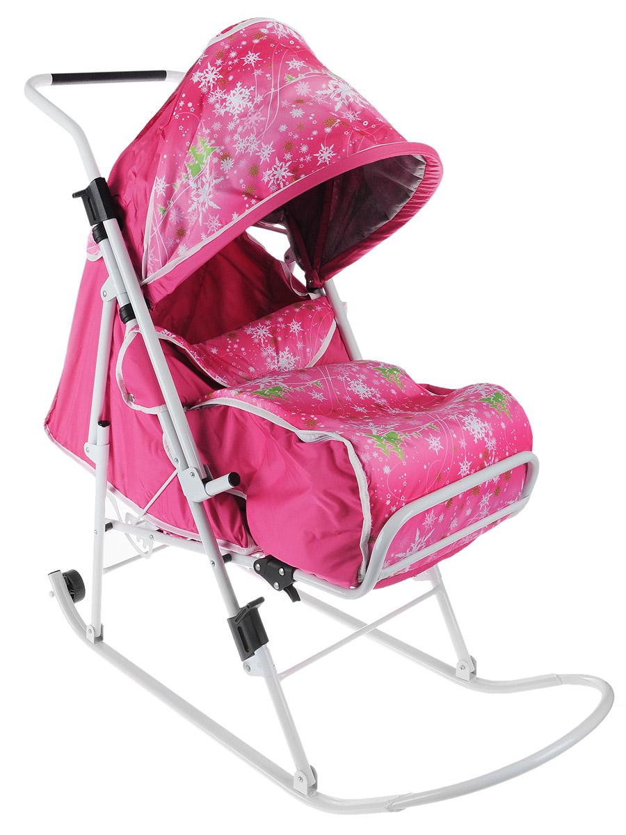 ABC Collection Санки-коляска Любава цвет розовый снежинки