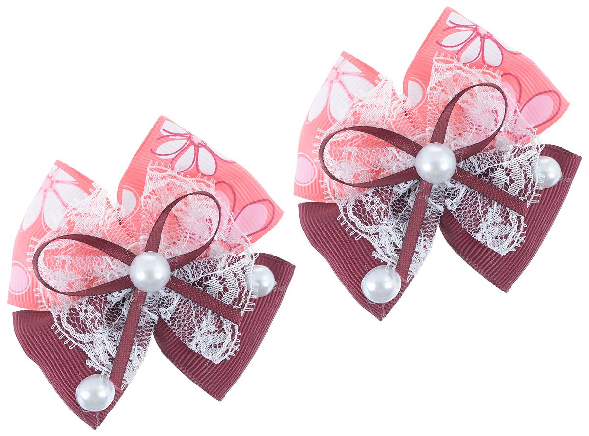 Резинка для волос Baby's Joy, цвет: бордовый, коралловый, 2 шт. MN 133