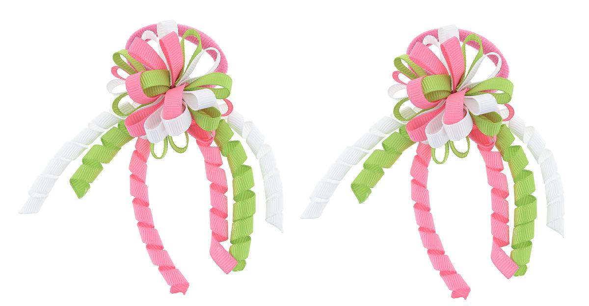Резинка для волос Baby's Joy, цвет: розовый, зеленый, белый, 2 шт. MN 134/2