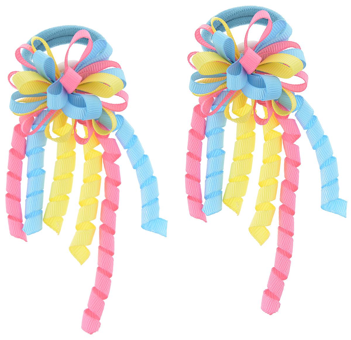 Резинка для волос Baby's Joy, цвет: голубой, розовый, желтый, 2 шт. MN 134/2