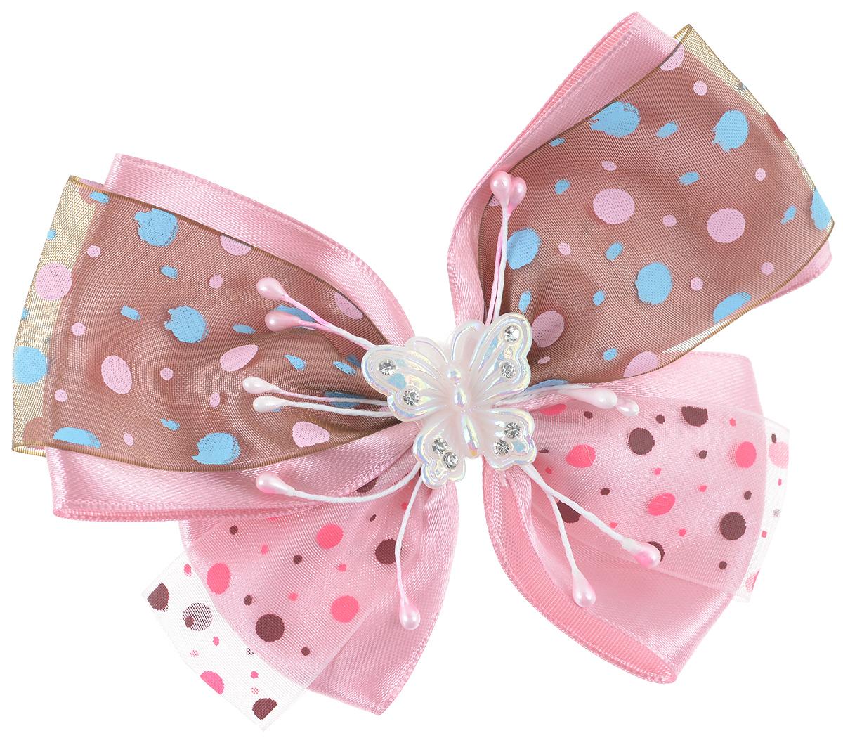 Резинка для волос Babys Joy, цвет: розовый, коричневый. MN 122MN 122_розовый/коричневыйРезинка для волос Babys Joy изготовлена из текстиля и дополнена милым бантиком, который оформлен принтом горох и бабочкой из пластика, которая дополнена стразами. Резинка для волос Babys Joy надежно зафиксирует волосы и подчеркнет красоту прически вашей маленькой принцессы.