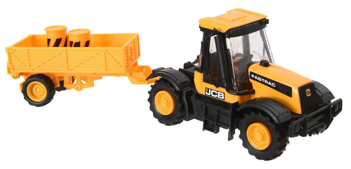 JCB Cтроительная техника Трактор с прицепом масштаб 1:32tractor/astTL107.V15Трактор с прицепом JCB, изготовленный из прочного безопасного материала, отлично подойдет ребенку для различных игр. Это очень нужная техника - трактор везет две строительные бочки. Задний борт можно открыть и положить туда еще множество необходимых вещей. Трактор отлично подойдет для игр ребенка на свежем воздухе, а также поможет малышу перевезти мелкие игрушки с место на место. Колеса уникальной строительной машины изготовлены из прорезиненного материала, что обеспечивает прочное сцепление с дорогой, не давая скользить технике по полу и царапать его. Трактор является точной уменьшенной копией своего прототипа - настоящей строительной техники от компании JCB в масштабе 1:32. Удивите своего маленького строителя новой современной техникой! Такая игрушка, несомненно, обрадует малыша и принесет ему уйму ярких впечатлений. Ваш ребенок сможет прекрасно провести время дома или на улице, воспроизводя свою стройку. Собери целую коллекцию строительной техники JCB для постройки...