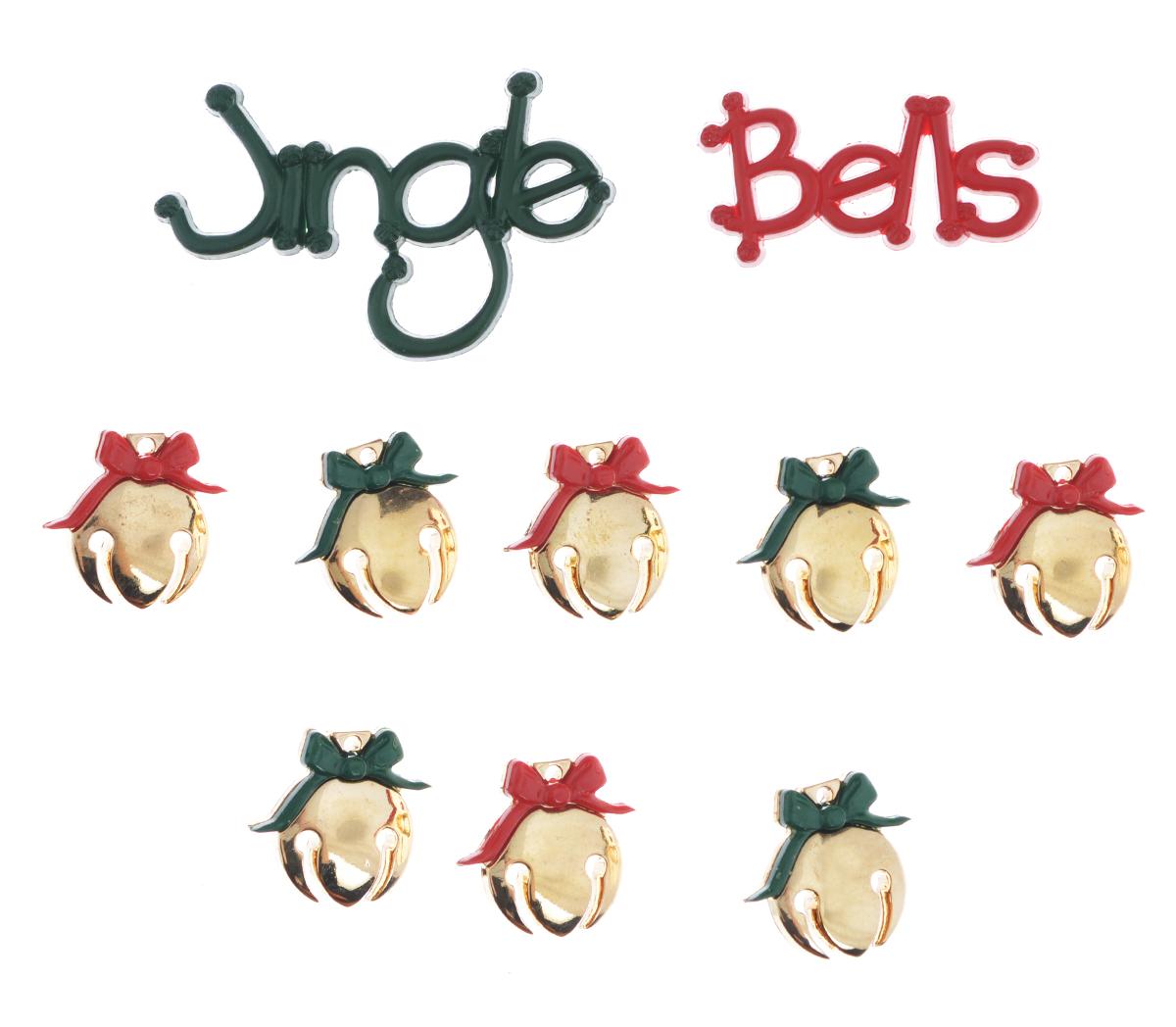 Пуговицы декоративные Dress it up Рождественские колокольчики, 10 шт7713499Пуговицы декоративные Dress it up Рождественские колокольчики состоит из 10 декоративных пуговиц, выполненных из цветного пластика в виде колокольчиков. Такие пуговицы подходят для любых видов творчества: скрапбукинга, декорирования, шитья, изготовления кукол, а также для оформления одежды. С их помощью вы сможете украсить открытку, фотографию, альбом, подарок и другие предметы ручной работы. Пуговицы разных цветов имеют оригинальный и яркий дизайн. Средний размер пуговиц: 1,3 см х 1,3 см х 0,3 см.