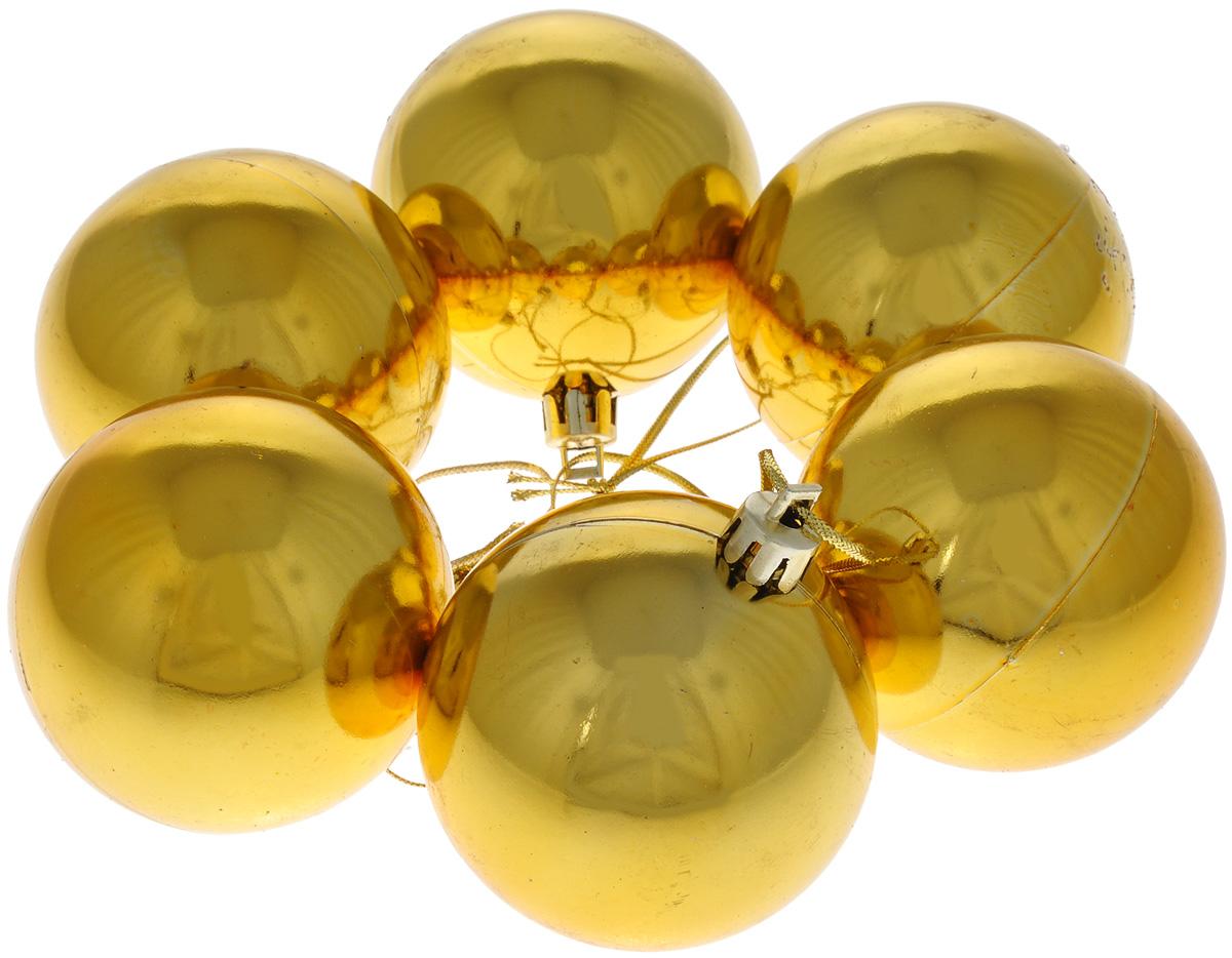 Набор новогодних подвесных украшений EuroHouse, цвет: золотистый, диаметр 6 см, 6 шт. ЕХ7487ЕХ7487_золотойНабор новогодних подвесных украшений EuroHouse прекрасно подойдет для праздничного декора новогодней ели. Набор состоит из 6 пластиковых украшений в виде глянцевых шаров. Для удобного размещения на елке для каждого изделия предусмотрена текстильная петелька. Елочная игрушка - символ Нового года. Она несет в себе волшебство и красоту праздника. Создайте в своем доме атмосферу веселья и радости, украшая новогоднюю елку нарядными игрушками, которые будут из года в год накапливать теплоту воспоминаний.